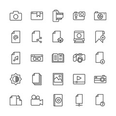 Modern Simple Set of video, photos, bookmarks, files Vector outline Icons. Contains such Icons as  disc,  compact,  action,  retro,  lens and more on white background. Fully Editable. Pixel Perfect.