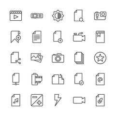 Modern Simple Set of video, photos, bookmarks, files Vector outline Icons. Contains such Icons as music,  lens, projector,  entertainment and more on white background. Fully Editable. Pixel Perfect.
