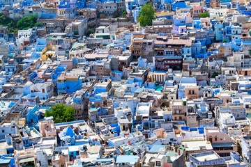 Aerial view of Jodhpur city, Rajasthan, India. The famous blue city, seen from Mehrangarh fort.