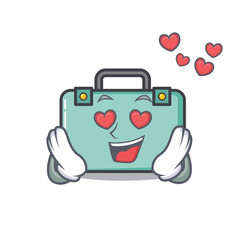 In love suitcase mascot cartoon style