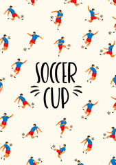 Soccer Cup. Vector template with soccer players.