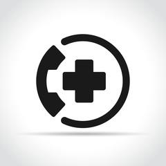 emergency call icon on white background