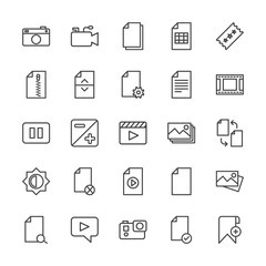 Modern Simple Set of video, photos, bookmarks, files Vector outline Icons. Contains such Icons as  data, message, add,  photo,  zip,  paper and more on white background. Fully Editable. Pixel Perfect.