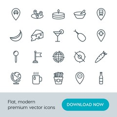 Modern Simple Set of food, location, drinks Vector outline Icons. Contains such Icons as  snack,  potato,  carrot,  sign,  location,  road and more on white background. Fully Editable. Pixel Perfect.