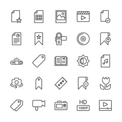 Modern Simple Set of video, photos, bookmarks, files Vector outline Icons. Contains such Icons as  file, image, movie,  photography, double and more on white background. Fully Editable. Pixel Perfect.