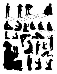 Silhouette of muslim praying. Vector, illustration. Good use for symbol, logo, web icon, mascot, sign, or any design you want.