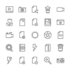 Modern Simple Set of video, photos, bookmarks, files Vector outline Icons. Contains such Icons as remove,  digital, technology,  element and more on white background. Fully Editable. Pixel Perfect.