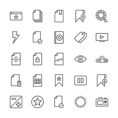 Modern Simple Set of video, photos, bookmarks, files Vector outline Icons. Contains such Icons as movie,  photo, camera,  favorite, stop and more on white background. Fully Editable. Pixel Perfect.