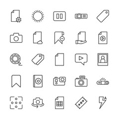 Modern Simple Set of video, photos, bookmarks, files Vector outline Icons. Contains such Icons as  lens,  summer,  gift, stop,  light, data and more on white background. Fully Editable. Pixel Perfect.