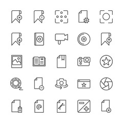 Modern Simple Set of video, photos, bookmarks, files Vector outline Icons. Contains such Icons as  cd,  capture,  page,  concept,  business and more on white background. Fully Editable. Pixel Perfect.