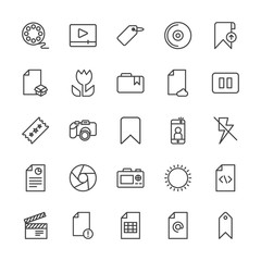 Modern Simple Set of video, photos, bookmarks, files Vector outline Icons. Contains such Icons as  sky,  photography, mail,  document,  tag and more on white background. Fully Editable. Pixel Perfect.