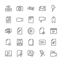 Modern Simple Set of video, photos, bookmarks, files Vector outline Icons. Contains such Icons as player,  sign,  photo,  adult, portrait and more on white background. Fully Editable. Pixel Perfect.