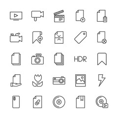 Modern Simple Set of video, photos, bookmarks, files Vector outline Icons. Contains such Icons as  technology,  flash, player,  disk,  cd and more on white background. Fully Editable. Pixel Perfect.
