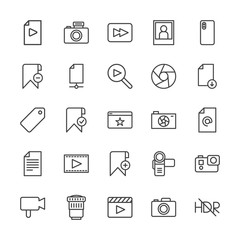 Modern Simple Set of video, photos, bookmarks, files Vector outline Icons. Contains such Icons as  music,  video,  shot,  cameraman, ,  add and more on white background. Fully Editable. Pixel Perfect.