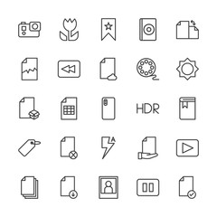 Modern Simple Set of video, photos, bookmarks, files Vector outline Icons. Contains such Icons as  game,  element, internet,  rotation, dvd and more on white background. Fully Editable. Pixel Perfect.