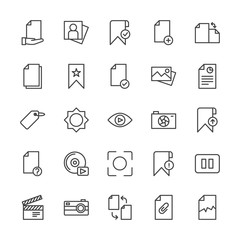 Modern Simple Set of video, photos, bookmarks, files Vector outline Icons. Contains such Icons as  beauty,  digital,  production, light and more on white background. Fully Editable. Pixel Perfect.