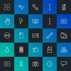 Modern Simple Set of mobile, video, photos, cursors Vector outline Icons. Contains such Icons as cursor,  button,  vertical, hd and more on dark and gradient background. Fully Editable. Pixel Perfect.