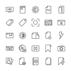 Modern Simple Set of video, photos, bookmarks, files Vector outline Icons. Contains such Icons as  compact,  camera,  attractive,  storage and more on white background. Fully Editable. Pixel Perfect.