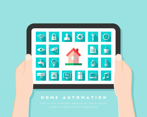Home automation concept with dashboard interface and icons in flat design.