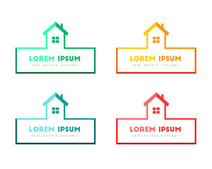 House logo design, color set. Real estate concept.