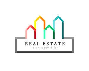 Real estate logo. Colorful house and building set as variety and offer concept in modern design.