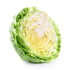 Sliced cabbage isolated on white background.