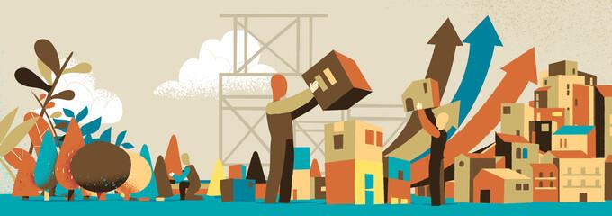 Persone che costruiscono edifici per una città sostenibile
