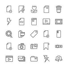 Modern Simple Set of video, photos, bookmarks, files Vector outline Icons. Contains such Icons as  transparent, projector,  movie,  delete and more on white background. Fully Editable. Pixel Perfect.