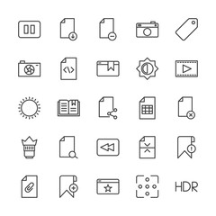 Modern Simple Set of video, photos, bookmarks, files Vector outline Icons. Contains such Icons as office, hdr,  clip,  page,  divider, stop and more on white background. Fully Editable. Pixel Perfect.