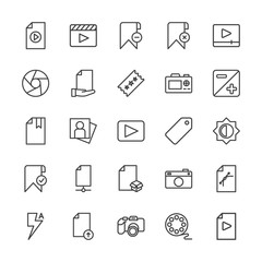 Modern Simple Set of video, photos, bookmarks, files Vector outline Icons. Contains such Icons as portrait, ,  dslr,  pocket,  graphic and more on white background. Fully Editable. Pixel Perfect.