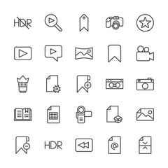 Modern Simple Set of video, photos, bookmarks, files Vector outline Icons. Contains such Icons as  document,  sky,  play,  photo,  travel,  and more on white background. Fully Editable. Pixel Perfect.