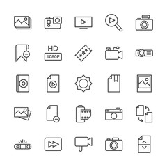 Modern Simple Set of video, photos, bookmarks, files Vector outline Icons. Contains such Icons as  cameraman,  button,  movie,  photography and more on white background. Fully Editable. Pixel Perfect.
