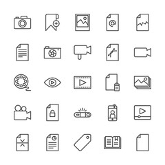 Modern Simple Set of video, photos, bookmarks, files Vector outline Icons. Contains such Icons as  bookmark,  lens, player,  button, mail and more on white background. Fully Editable. Pixel Perfect.
