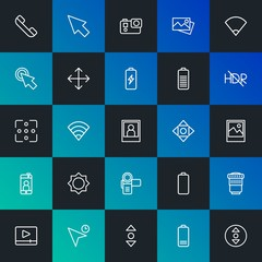 Modern Simple Set of mobile, video, photos, cursors Vector outline Icons. Contains such Icons as battery, cursor,  photography and more on dark and gradient background. Fully Editable. Pixel Perfect.