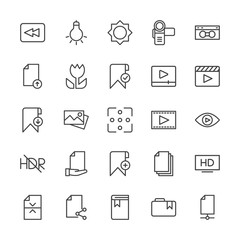 Modern Simple Set of video, photos, bookmarks, files Vector outline Icons. Contains such Icons as  lamp,  document,  information,  bookmark and more on white background. Fully Editable. Pixel Perfect.