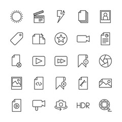 Modern Simple Set of video, photos, bookmarks, files Vector outline Icons. Contains such Icons as  lightning,  shot,  people,  architecture and more on white background. Fully Editable. Pixel Perfect.