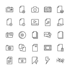 Modern Simple Set of video, photos, bookmarks, files Vector outline Icons. Contains such Icons as  block,  data,  camera,  digital,  office and more on white background. Fully Editable. Pixel Perfect.