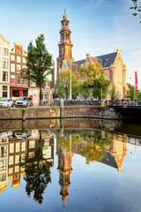 Amsterdam - The Westerkerk church, Netherlands at summer day