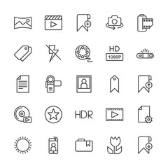 Modern Simple Set of video, photos, bookmarks, files Vector outline Icons. Contains such Icons as movie,  rotate,  sign,  phone,  photo and more on white background. Fully Editable. Pixel Perfect.