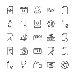 Modern Simple Set of video, photos, bookmarks, files Vector outline Icons. Contains such Icons as  theater,  new,  adult,  file,  cinema and more on white background. Fully Editable. Pixel Perfect.
