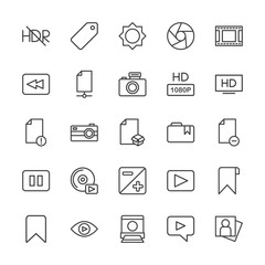 Modern Simple Set of video, photos, bookmarks, files Vector outline Icons. Contains such Icons as  landscape,  game,  label,  cinema,  sky and more on white background. Fully Editable. Pixel Perfect.