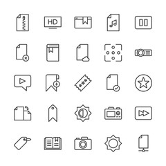 Modern Simple Set of video, photos, bookmarks, files Vector outline Icons. Contains such Icons as rewind,  scroll,  dslr,  photo,  music and more on white background. Fully Editable. Pixel Perfect.