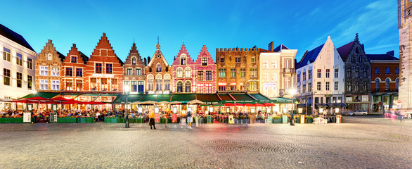 Wall Murals Bridges Bruges - Panorama of Market place at night, Belgium