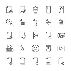 Modern Simple Set of video, photos, bookmarks, files Vector outline Icons. Contains such Icons as  new,  dual, lens,  computer, camera, add and more on white background. Fully Editable. Pixel Perfect.