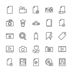 Modern Simple Set of video, photos, bookmarks, files Vector outline Icons. Contains such Icons as download,  media, lens, player,  computer and more on white background. Fully Editable. Pixel Perfect.