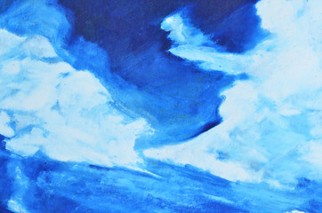 White, blue and dark blue watercolor paint on canvas