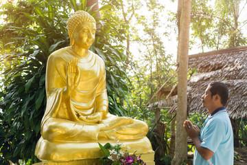 the Buddhist worships statue of Buddha