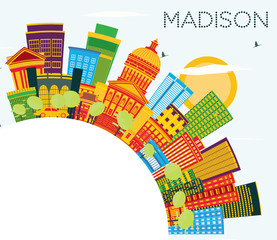 Madison Wisconsin Skyline with Color Buildings, Blue Sky and Copy Space.