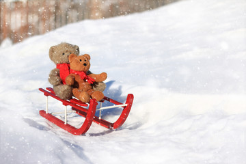 Teddy bears sledding in the winter snow