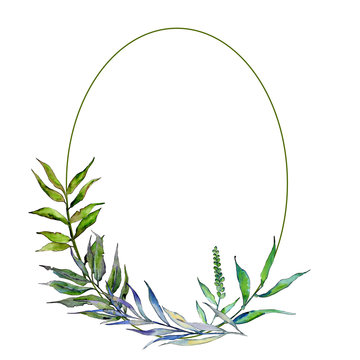 Willow branches in a watercolor style frame. Aquarelle leaf for background, texture, wrapper pattern, frame or border.